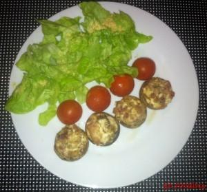 Champignons farcis chèvre lardons (2)