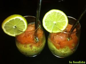 Verrines guacamole maison et saumon fumé