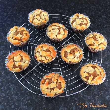 Muffins rhubarbe banane façon crumble (6)